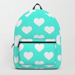 Hearts (White & Turquoise Pattern) Backpack