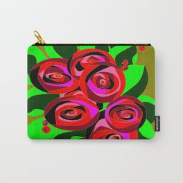 A Bouquet of Roses with Black Petals and Buds of Red Carry-All Pouch