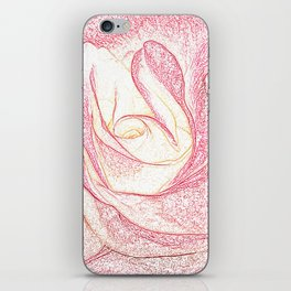 Summer Rose Pencil on White iPhone Skin