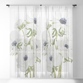 white anemone flower  watercolor painting Sheer Curtain