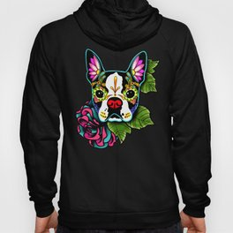 Boston Terrier in Black - Day of the Dead Sugar Skull Dog Hoody