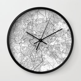 Rome Map Line Wall Clock
