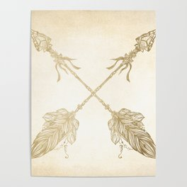 Tribal Arrows Gold on Paper Poster