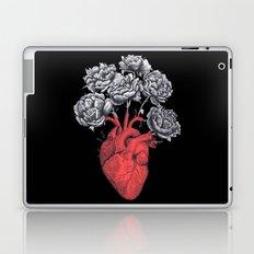 Heart with peonies on black Laptop & iPad Skin