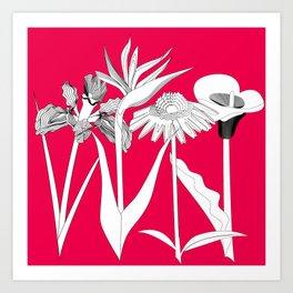 Spring Flowas Bring Girl Powas, Black and White Illustration Art Print