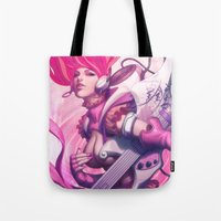 heavy metal Tote Bags featuring Pepper Heavy Metal by Artgerm™