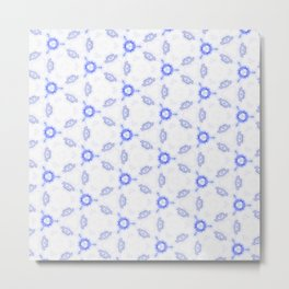Blue White Pattern Design Metal Print