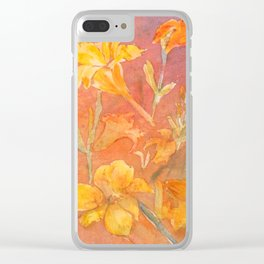 Layered Day Lilies Clear iPhone Case