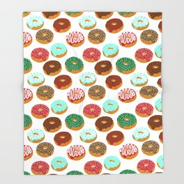 Christmas festive donuts holiday dessert junk food foodie pattern print red and green Throw Blanket