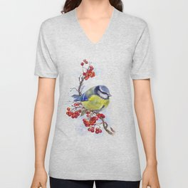 Watercolor Titmouse Great tit winter bird Unisex V-Neck