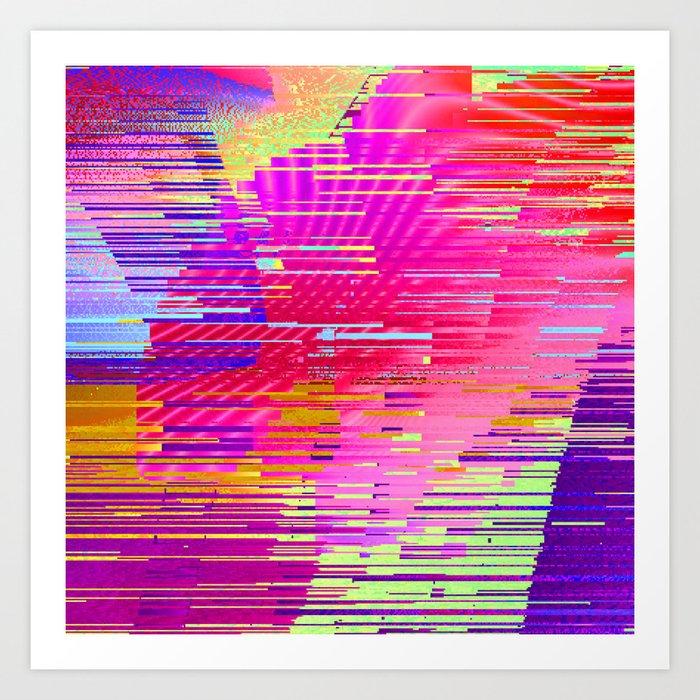sunset glitch Art Print