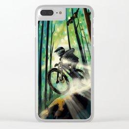 Forest jump mountain biker Clear iPhone Case