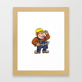Cartoon of a Gorilla Handyman Framed Art Print