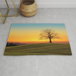 Lonely Tree On Hillside At Sunset Ultra HD Rug