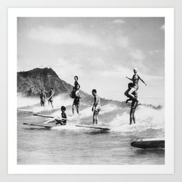 Vintage Hawaii Tandem Surfing Art Print