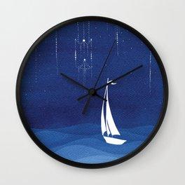 Garland of stars, sailboat Wall Clock