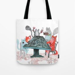 Cat Dinner Party Tote Bag