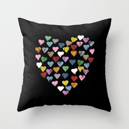 Distressed Hearts Heart Black Throw Pillow