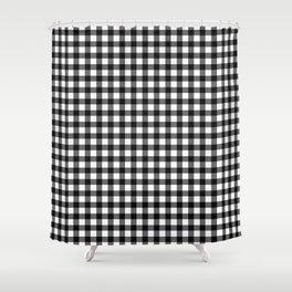 Gingham Print - Black Shower Curtain