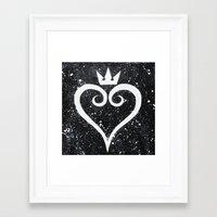 kingdom hearts Framed Art Prints featuring Kingdom Hearts Heart by Herk Designs