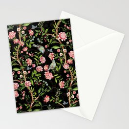 Vintage & Shabby Chic - Antique Midnight Botanical Chinoiserie Garden With Flowers Birds  Stationery Cards