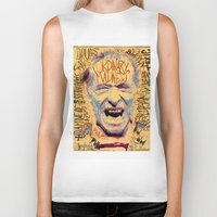 bukowski Biker Tanks featuring Charles Bukowski by Kori Levy illustration & design