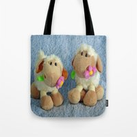silence of the lambs Tote Bags featuring Little Lambs by Frankie Cat