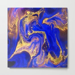 Marble gold and deep blue Metal Print