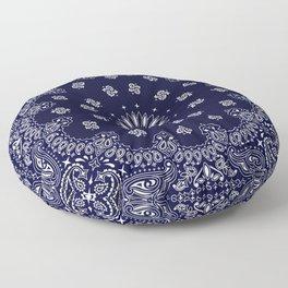 Paisley - Bandana - Navy Blue - Southwestern - Cowboy Floor Pillow