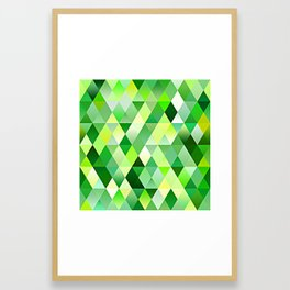 Lime Green Yellow White Diamond Triangles Mosaic Pattern Framed Art Print