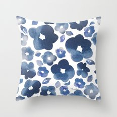 Blue Watercolour Flowers Throw Pillow