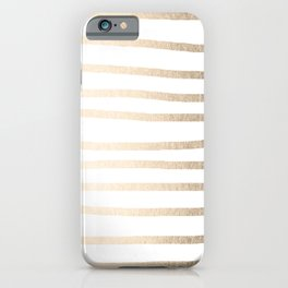 Simply Drawn Stripes in White Gold Sands iPhone Case