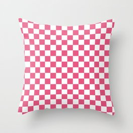 Small Checkered - White and Dark Pink Throw Pillow