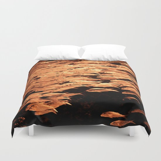 Golden fishes Duvet Cover