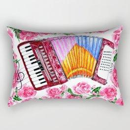 Accordion with pink roses Rectangular Pillow