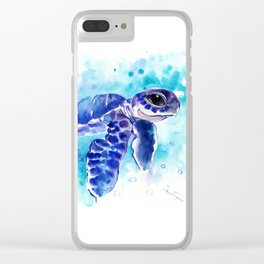 Blue Hawaiian Sea Turtle, Turquoise Blue Cute Animal Sea world Art Clear iPhone Case