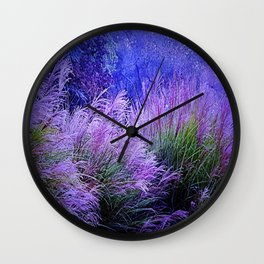 Purple long grass Wall Clock