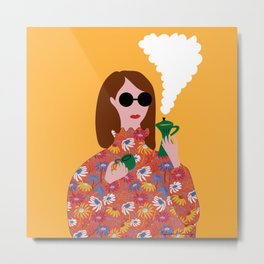 Girl with an Italian coffe maker // Fun everyday illustration Metal Print