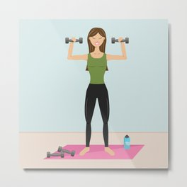 Fitness Girl Lifting Weights Cartoon Illustration Metal Print