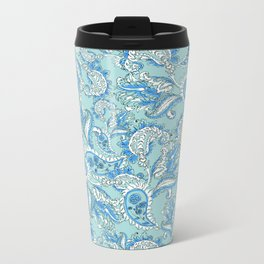 Blue Paisley Metal Travel Mug