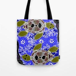 Authentic Aboriginal Art - Sea Turtles Tote Bag