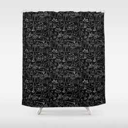 Cats and Ghosts-Black and White Shower Curtain