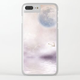 Swans Flying Over A Misty River Clear iPhone Case