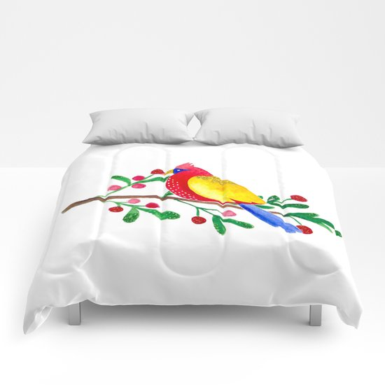 Winterbird - Bird Watercolor Illustration Comforters
