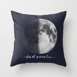 First Quarter Moon on Navy English Throw Pillow