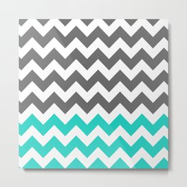 Gray and Turquoise Zigzags  Metal Print