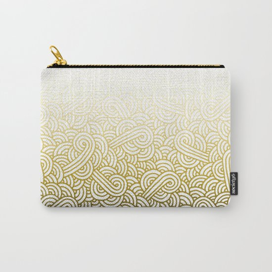 Gradient yellow and white swirls doodles Carry-All Pouch
