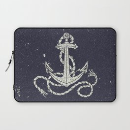 Navy Blue Nautical White Anchor for Sailor Texture Laptop Sleeve
