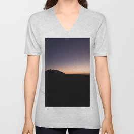 monte baldo garda lake italy drone shot aerial view sunset mountains dust path clouds star Unisex V-Neck