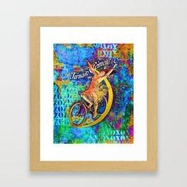 BICYCLETTE SUR LA LUNE Mixed Media Art Framed Art Print